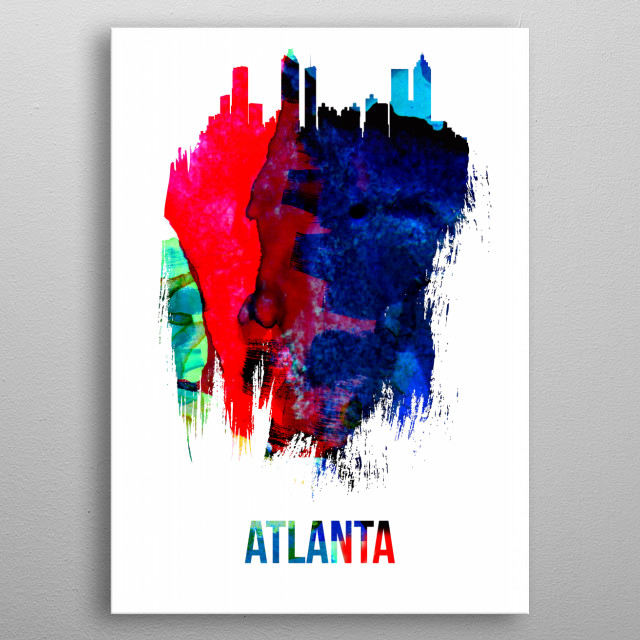Watercolor painting celebrating one of our favorite cities Detroit. Please explore our vast collection of city skylines. metal poster