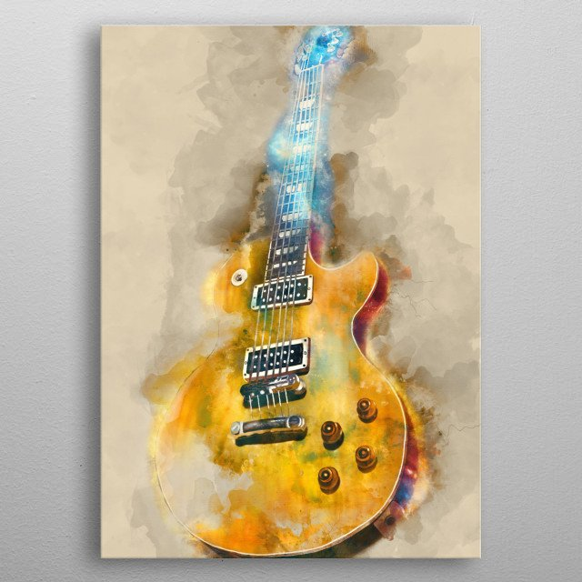 Slash's guitar. Hand painted digital music poster caricature image with photoshop effects. Best gift for every guitarists, musicians metal poster