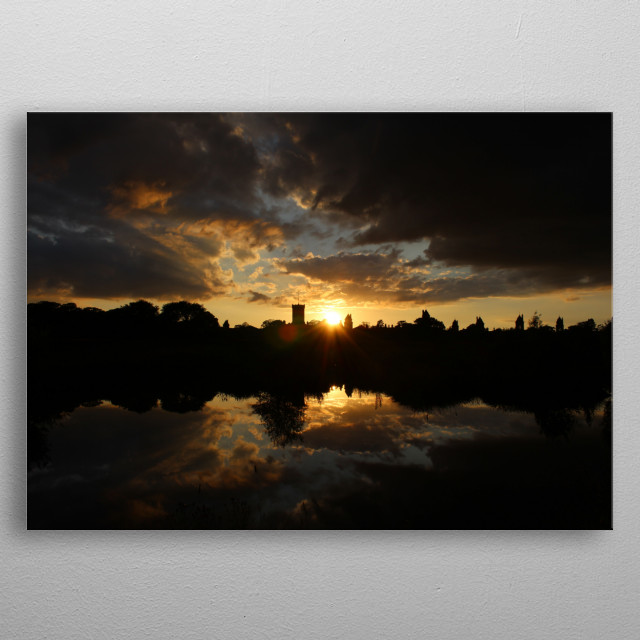A beautiful sunset over High Royds, a local abandoned hospital. metal poster