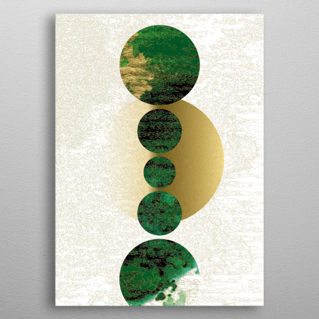 Full moon in all its facets. Analog painting, digitized and decorated with plenty of gold. metal poster