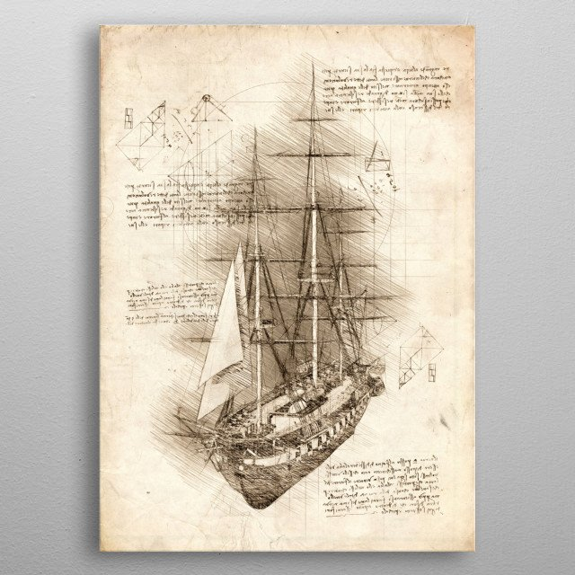Sketch of an old Sailing Ship, Barque metal poster