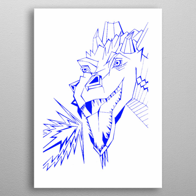 This dragon is is taken from the original which is A2 size and hand drawn. Using only lines and hours and hours. metal poster