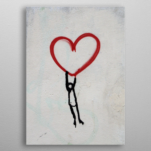 Illustration of a single panel showing a sketch of a man holding to a red heart metal poster