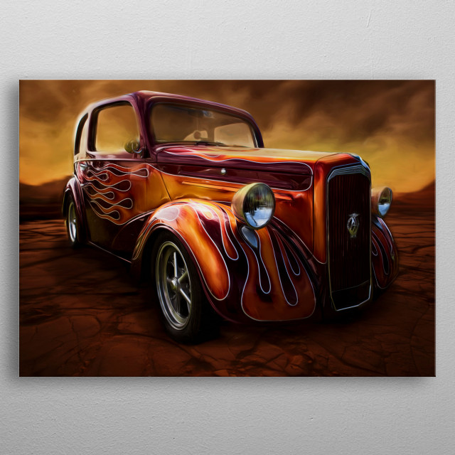 Beautiful 1948 Anglia with very funky paint job spotted at a local car show. The paintwork on this was epic. metal poster