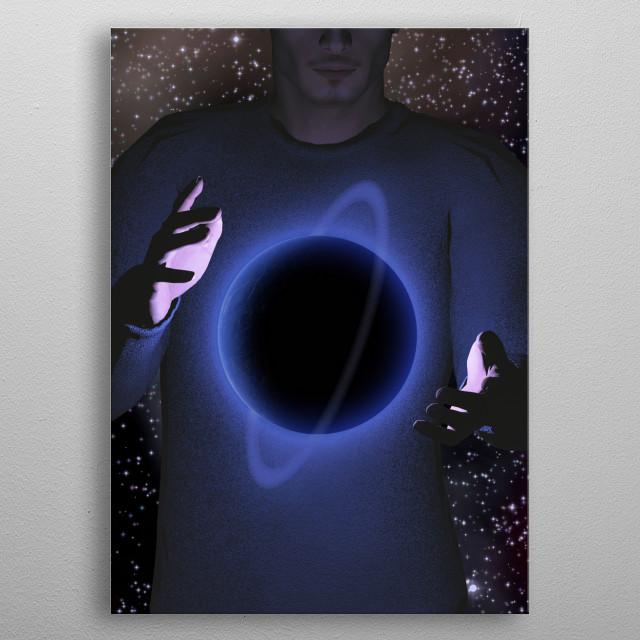 Planet hovers between hands metal poster