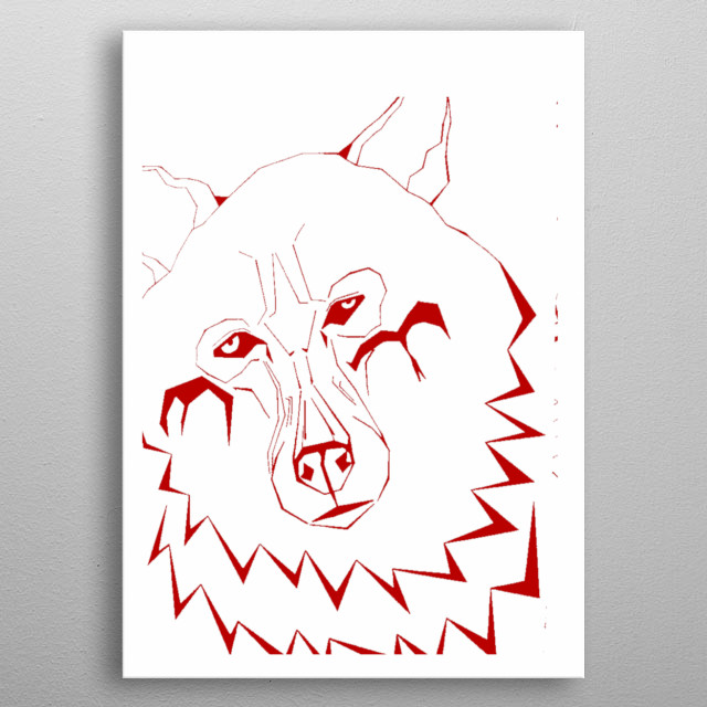 This wolf is is taken from the original which is A2 size and hand drawn. Using only lines and hours and hours. metal poster