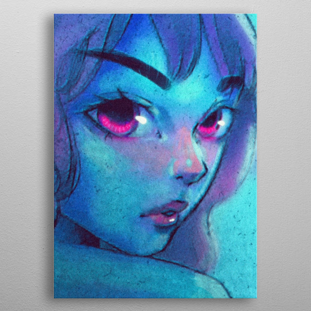 A super blue lady metal poster