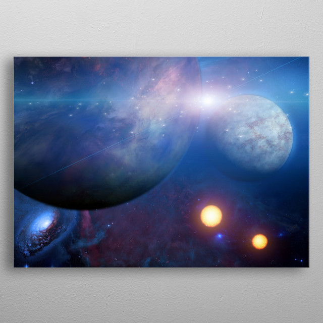 Planets and Suns. Deep space metal poster