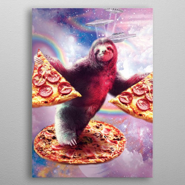 Pick up this funny galaxy sloth design. metal poster