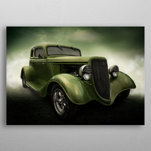 Fabulous old roadster given an arty candy apple green paint job. metal poster