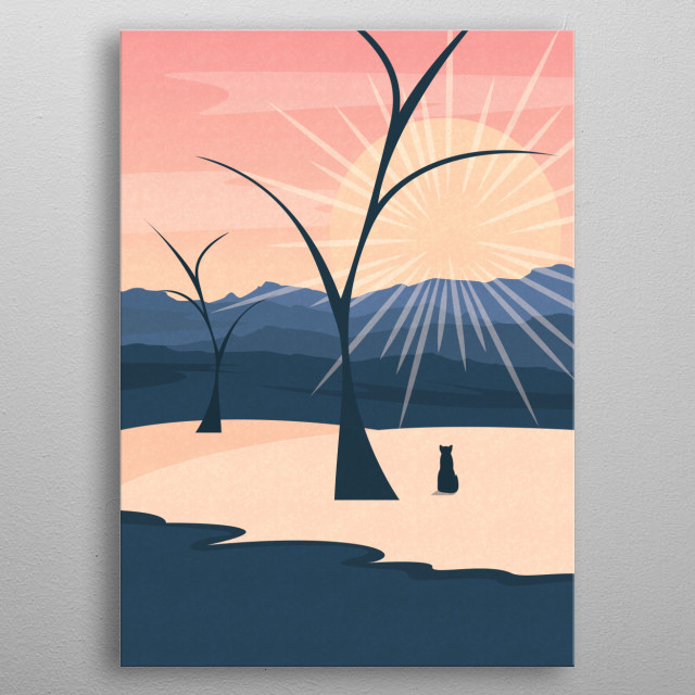 Landscape illustration of a sunrise over the mountains. metal poster