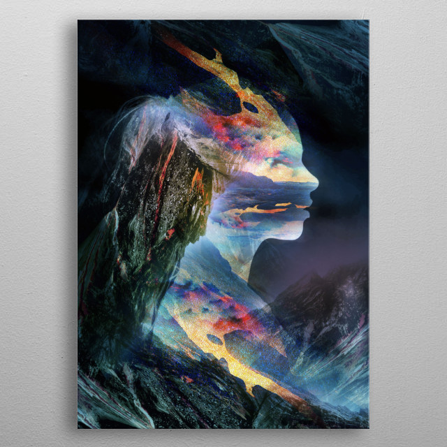 Beautiful portrait of a fairy tale girl made of mountain rocks and lava. metal poster