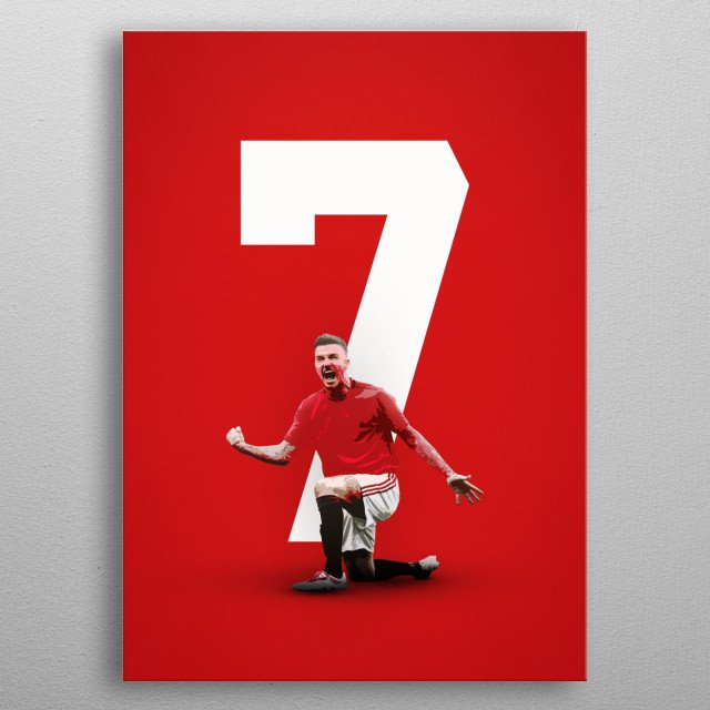 Poster of David Beckham playing for Manchester United (Man Utd) metal poster