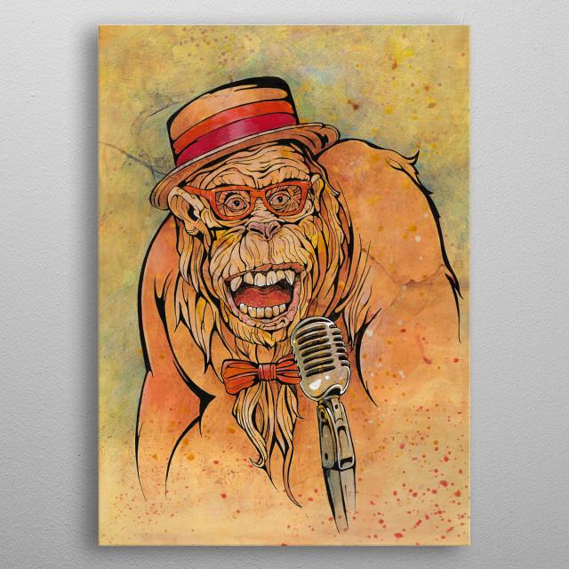 Gorilla sings jazz, retro style. metal poster