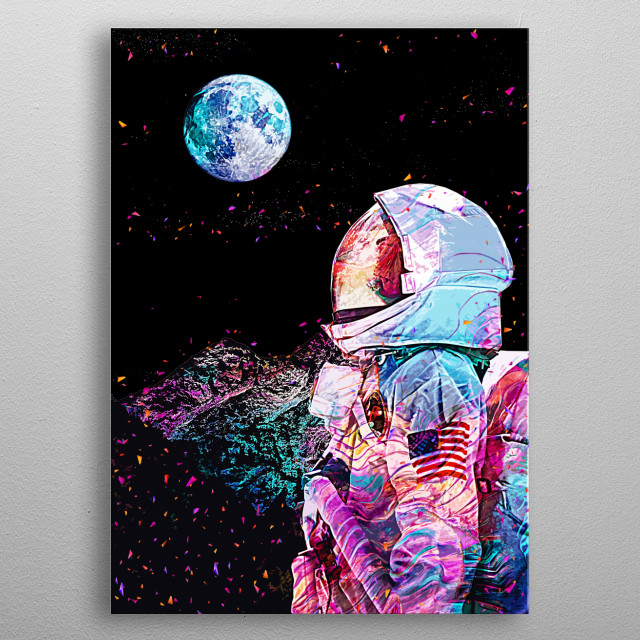 Soon we will reach the moon inspired artwork metal poster