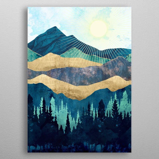 Abstract landscape of a forest and mountains with blue, gold and teal metal poster