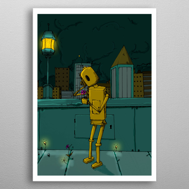 'In a city where machinery and industrialization is at its peak, people have forgotten what nature looks like. Mike is strolling home from w metal poster