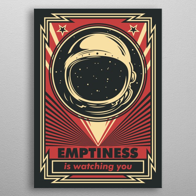 Vintage style space poster of empty space suit helmet in the void of space.  metal poster
