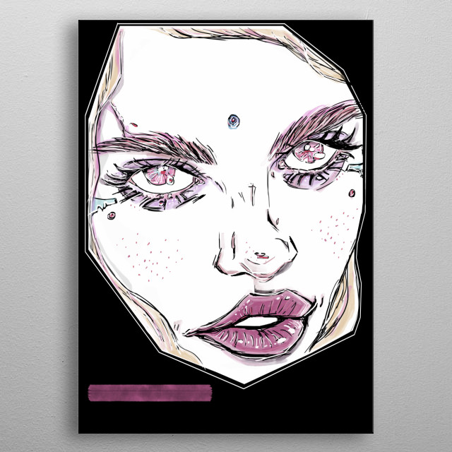 MINIMALIST, FANTASY COMIC PORTRAIT OF A UNIQUE, ETHNIC GIRL IN A POP-ART MEETS ANIME STYLE PAINTING!! :D  metal poster
