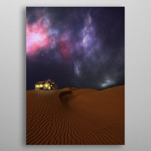 house on the top of some desert dunes with lights lit at night with a starry background metal poster