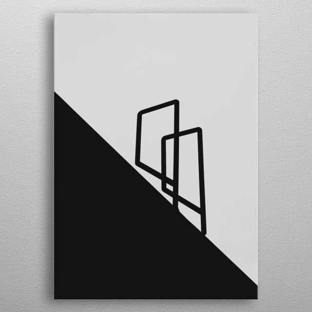 Sharp shadows of a ladder in mid-day in grey-scale. metal poster