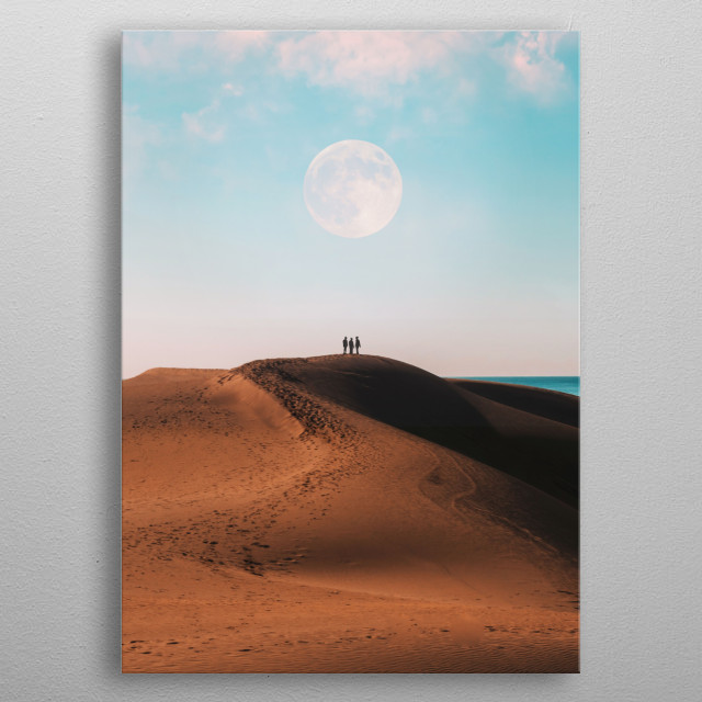 Onlookers gazing at the moon in the desert metal poster