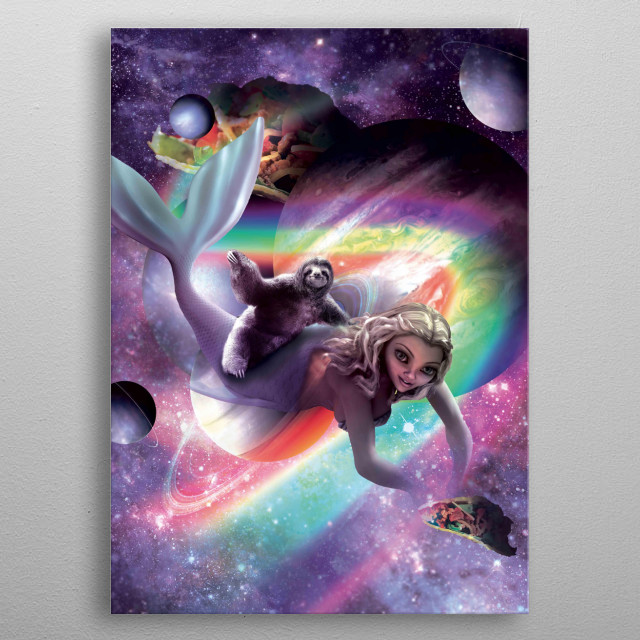 Pick up this crazy galaxy sloth on a flying mermaid design. metal poster