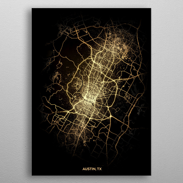 High-quality metal print from amazing City Light Maps collection will bring unique style to your space and will show off your personality. metal poster