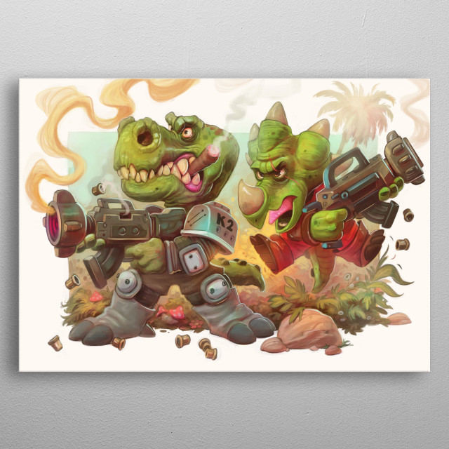 Dinosaur Death Squad in full on battle, complete with blazing guns and flying bullets. metal poster