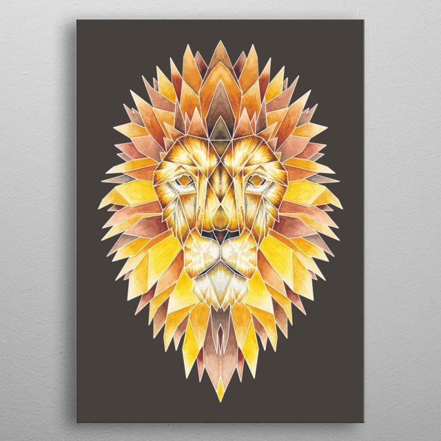 A stunning watercolour illustrated Lion print inspired by origami. metal poster