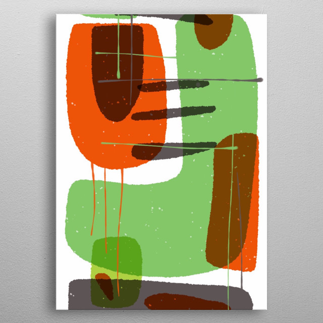 ABSTRACT ART DESIGN , BIG BLOCKS IN ORANGE, GREEN, & BROWN COLOURS INSPIRED BY THE BIG FORMS  LIKE CUBES, CIRCLES, WE CAN FIND ALL AROUND US metal poster