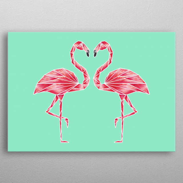 A beautiful and vibrant watercolour illustrated pair of Flamingos art print inspired by origami. metal poster