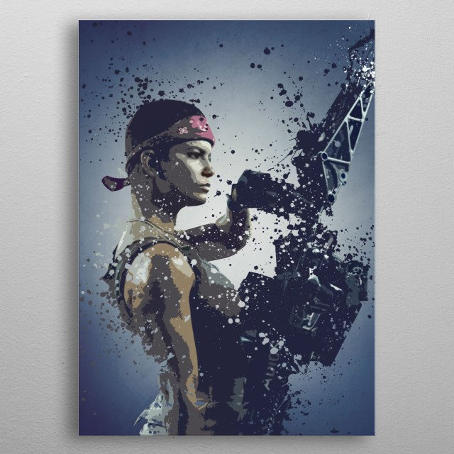 Private Vasquez splatter artwork inspired by the alien's universe. metal poster