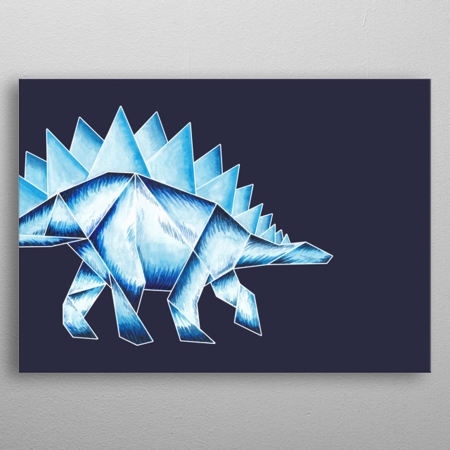 A colourful watercolour illustrated Stegosaurus print inspired by origami. metal poster