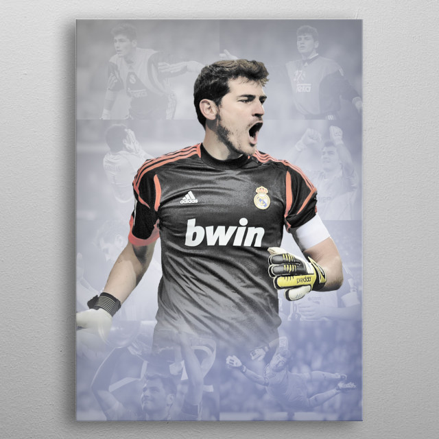 Iker Casillas drawn design with background pics of his career. metal poster