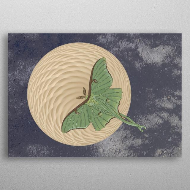 Luna moth in front of moon. metal poster