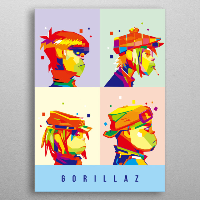 illustration of band animation gorillaz in wpap style metal poster