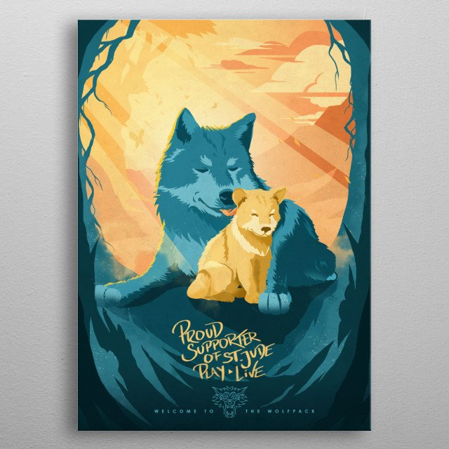 Our official St. Jude Displate design! Show your support with this adorable Wolfpack imagery. metal poster