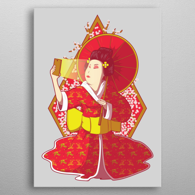 The selfie Geisha. The beauty shares her face. Inspired by the Asian culture. Characterized by traditional costumes and makeup. metal poster