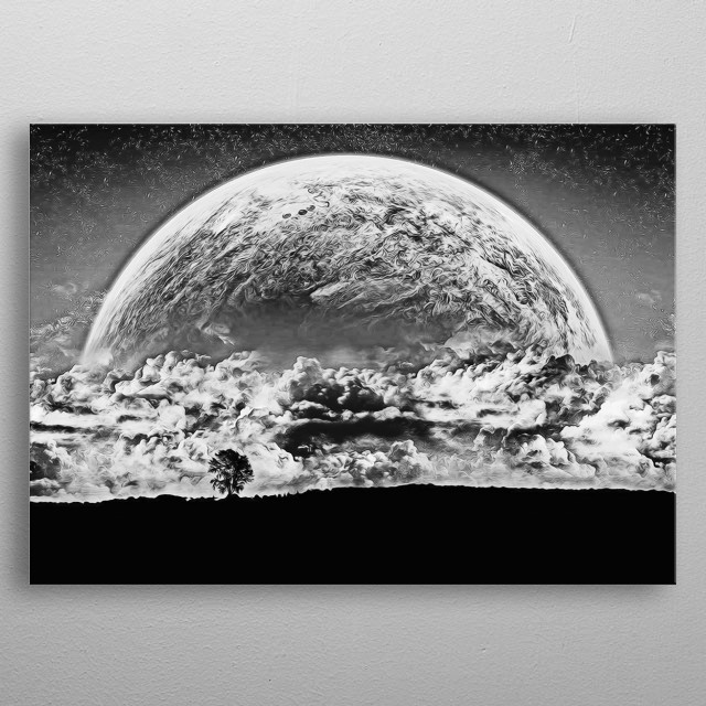 The beautiful moon and windswept countryside  metal poster