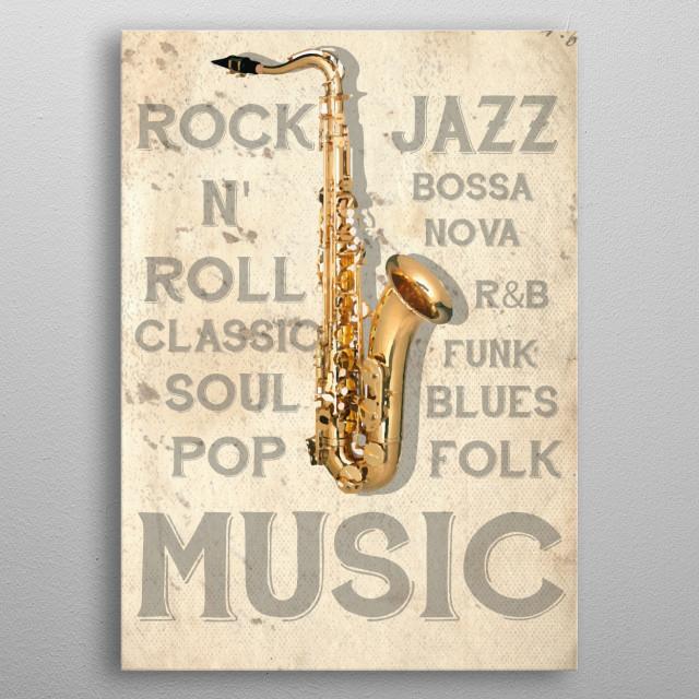 Sax vintage illustration metal poster