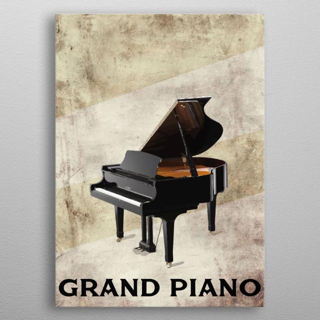 Grand Piano Illustration metal poster