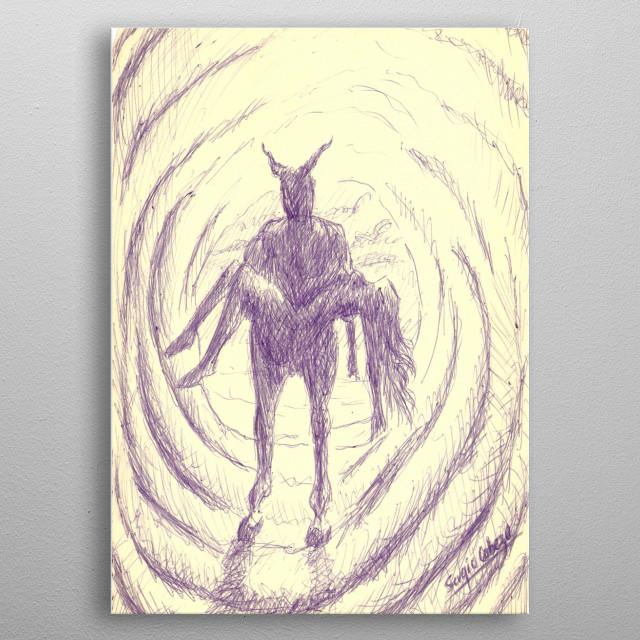 Dibujo realizado con bolígrafo sobre cartulina. Inspirado sobre las abduciones o robo de humanos por otras especies intergalácticas. metal poster