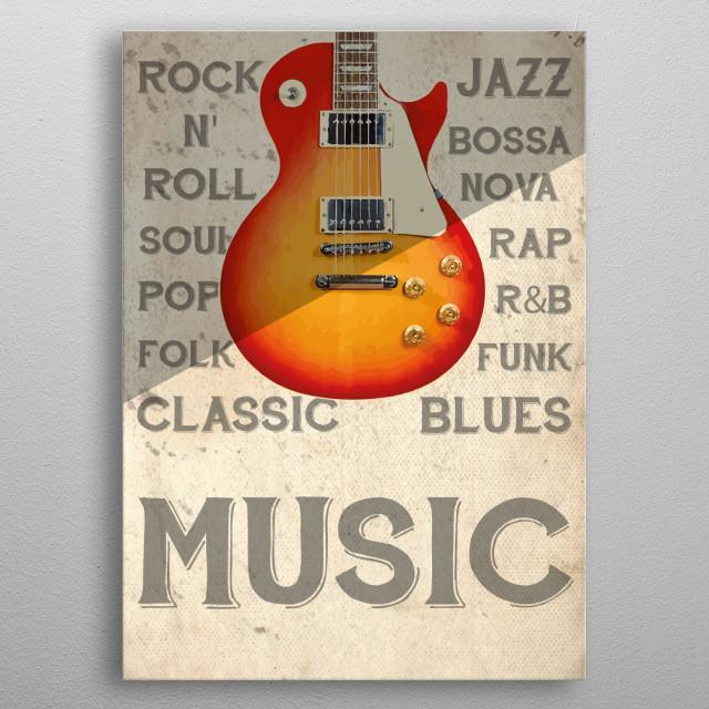 Vintage Guitar Illustration metal poster