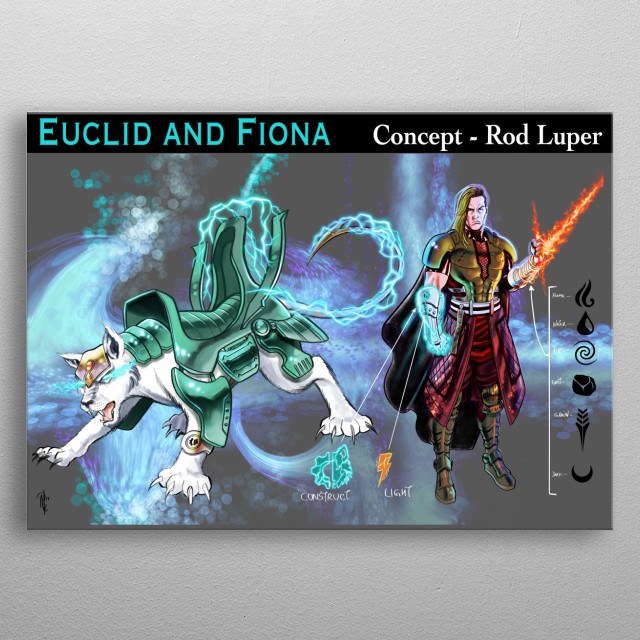 The original concept art for Master Euclid Syfer and Fiona, drawn by artist Rod Luper for the original comic series Blue Bastion.  metal poster