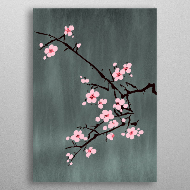 A simply beautiful handmade painting of the mystical cherry blossom. metal poster