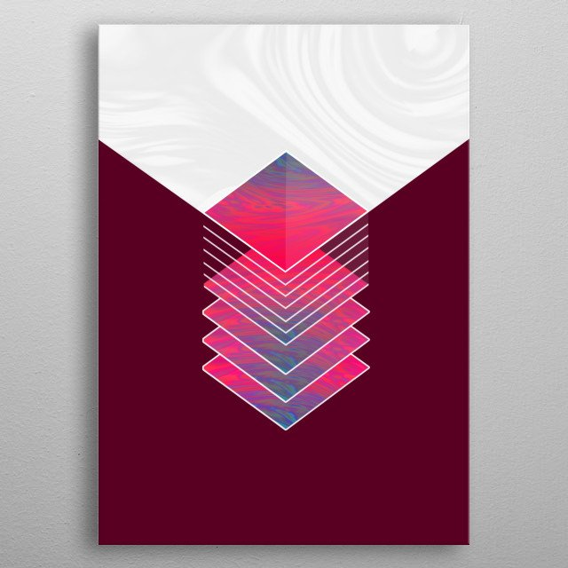 An holographic design mixed with mercury liquid aesthetics. All in one box. metal poster
