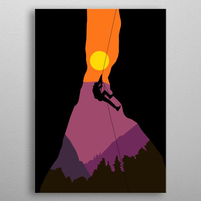 Illustration of a man climbing the mountain with a sunset background  metal poster