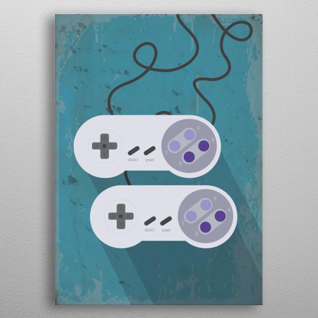 Flat Illustration of video game controls metal poster