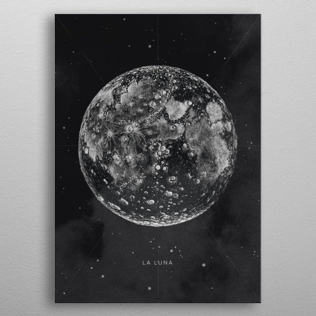 Vintage Posters with Drawing Moon Illustration  metal poster